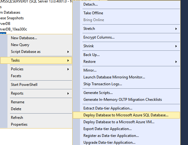 Deploy Database to Microsoft Azure SQL Database