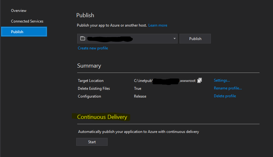 Visual Studio Continuous Delivery Screenshot
