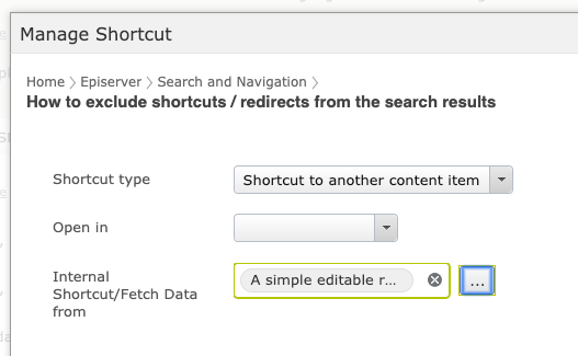 Manage shortcuts popup UI in Episerver